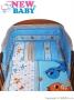 3-dílné ložní povlečení New Baby 90/120 cm modré s dinem
